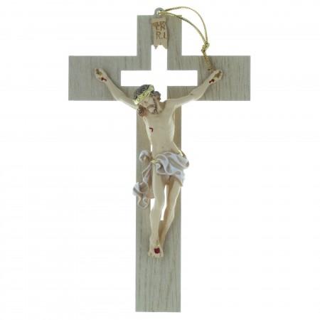 Crucifix en bois ajouré avec un Christ réaliste 20cm
