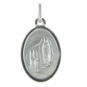 Double-sided silver medal Virgin Mary and Apparition of Lourdes