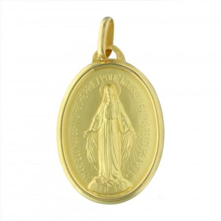 Medaglia della Madonna Miracolosa in oro 18 carati, 35 mm, 14,21 g
