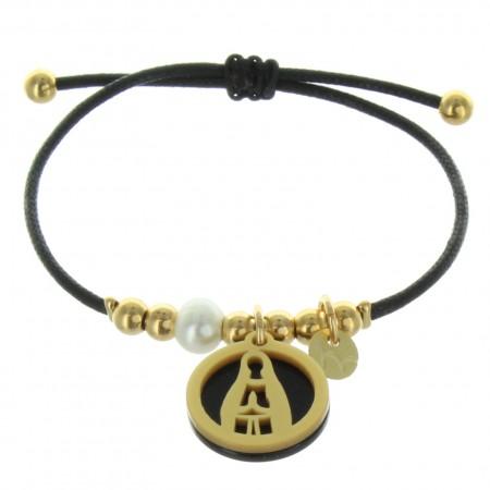 Bracelet corde avec une médaille de Notre Dame de Lourdes