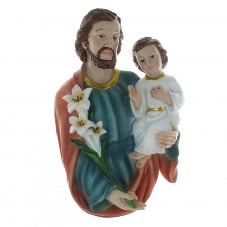 Buste de Saint Joseph en résine colorée 40cm
