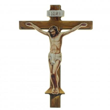 Crucifix bois avec Christ en relief 43cm