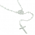 Lourdes Silver Rosary with 3mm Crystal Beads