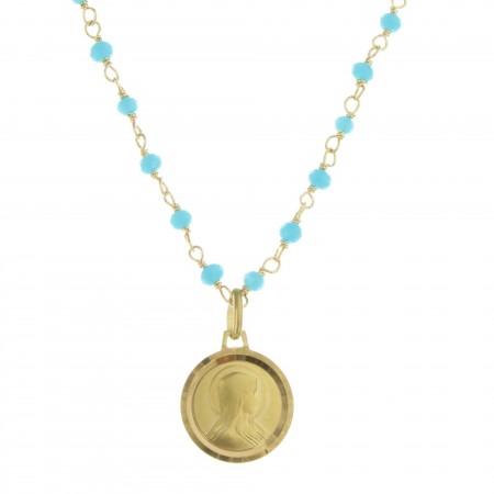Medaglia della Madonna placcata oro su una collana con perle colorate