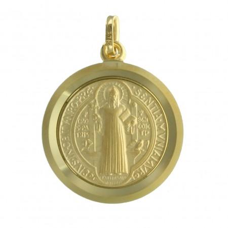 Medaglia di San Benedetto in oro 9 carati, 20mm, 3,14g