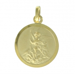 Saint Michael 9 carat gold medal,16mm, 1.72g
