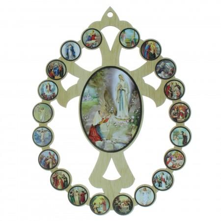Cadre en bois de Lourdes et la vie du Christ 20x14cm