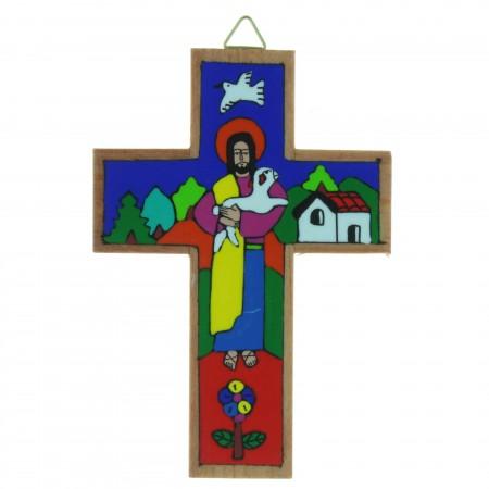 Crucifix bois avec le Christ Bon Pasteur 12cm