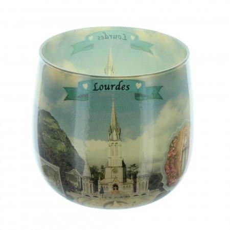 Bougie de Lourdes parfumée à la rose dans un verre 8cm