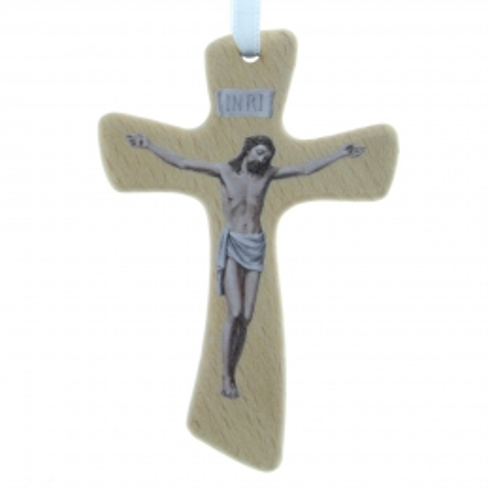 Crocifisso in legno con Cristo stampato 10cm