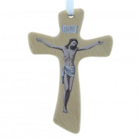 Crucifix bois avec l'image du Christ 10cm