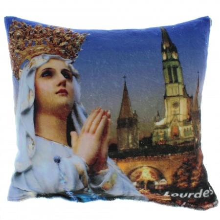 Coussin décoré de Notre Dame de Lourdes 40x36cm