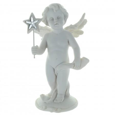 Statue blanche Ange debout avec une étoile 14cm