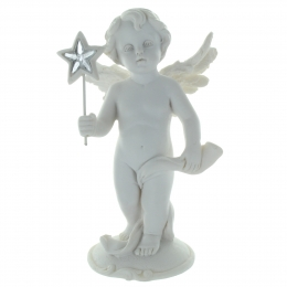 White Angel Statue standing with a star 14cm