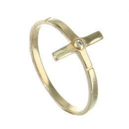 Gold plated ring with a cross and a zirconia