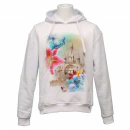White Lourdes sweat shirt with orchids