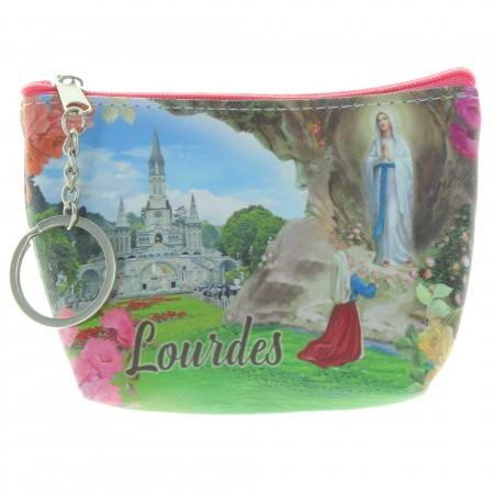 Porte monnaie de l'Apparition de Lourdes avec un porte clés