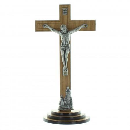 Crucifix bois sur pied avec le Christ et l'Apparition de Lourdes argentés 18cm