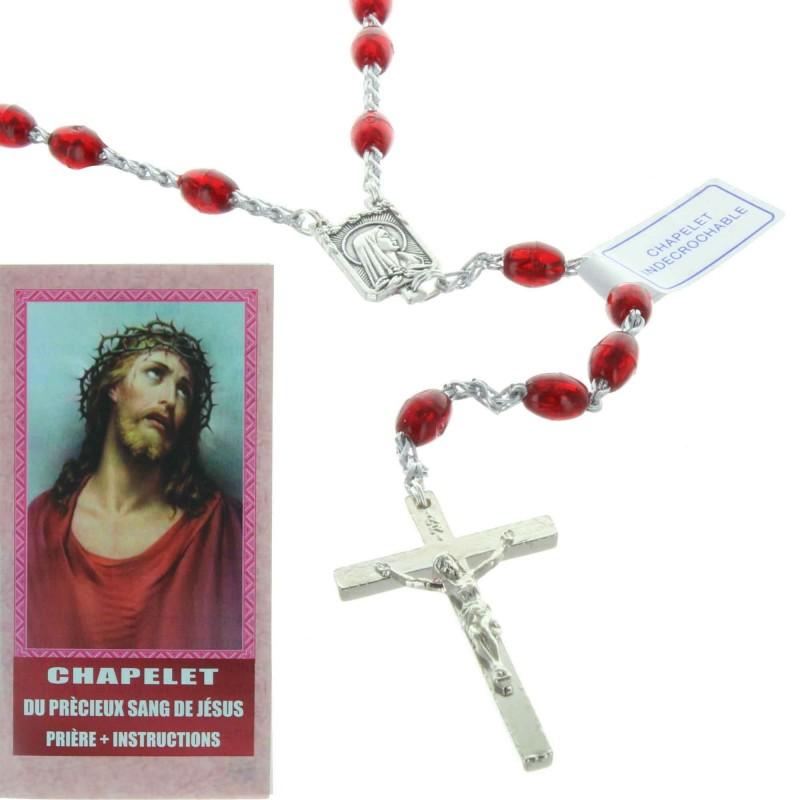 Chapelet du Précieux Sang de Jésus avec un livret de prière