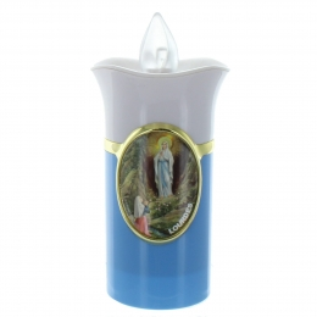 Bougie votive de Lourdes électrique avec des piles 14cm