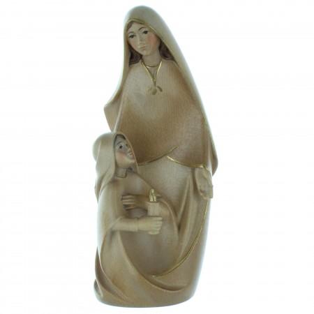Statue de l'Apparition de Lourdes en bois de hêtre patiné 17cm