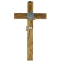 Crucifix de Saint Benoît en bois d'olivier avec le Christ réaliste 35cm