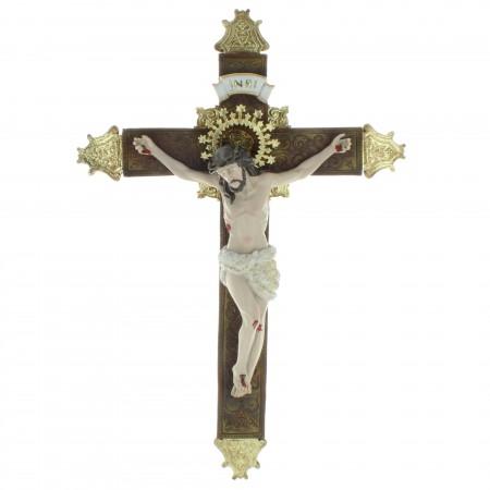 Crucifix résine avec le Christ réaliste, style baroque 35cm