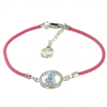 Bracelet religieux de Notre Dame de Lourdes avec un cordage rose
