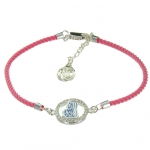 Our Lady of Lourdes religious bracelet with a pink rope