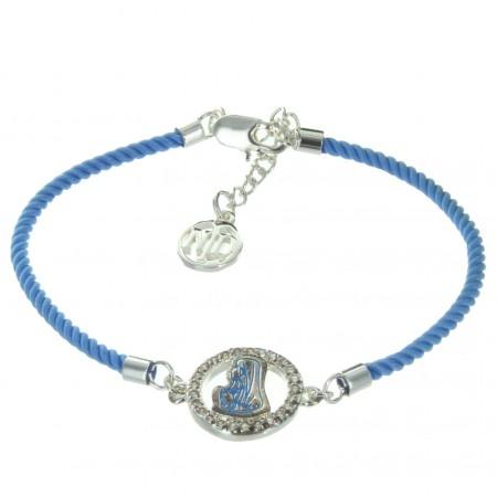 Bracelet religieux de la Vierge Marie avec un cordage bleu