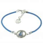 Virgin Mary religious bracelet with a blue rope