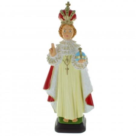 Statue de l'Enfant Jésus de Prague en résine colorée 30cm