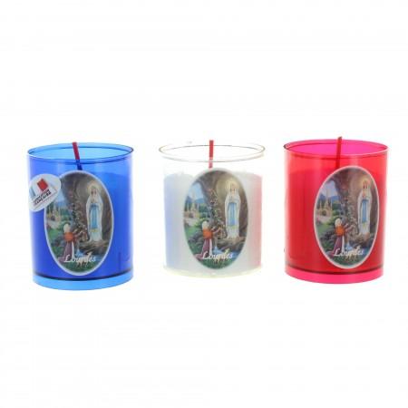 Set of 3 tricoloured Lourdes votive candles 6cm