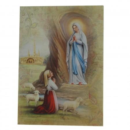 Cornice apparizione di Lourdes su tela stampata 13x18cm
