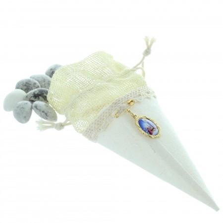 Cornet de Lourdes avec 60g de dragées amandes