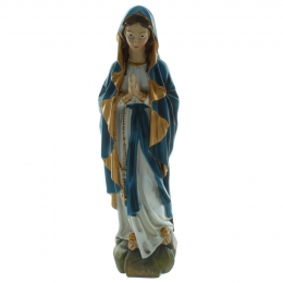 Our Lady of Lourdes Resin statue with blue and gold veil 40cm