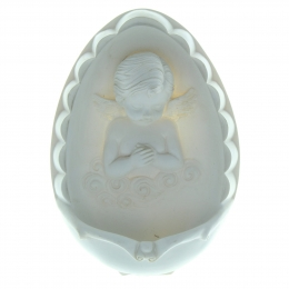 White resin holy water font with an angel 17x11cm