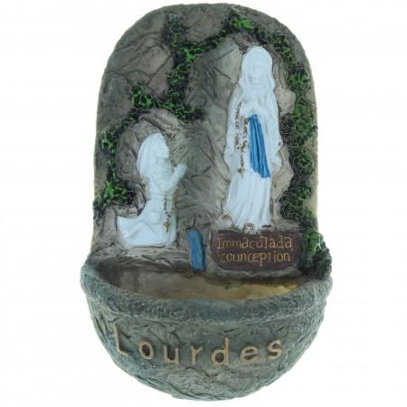 Acquasantiera in resina dell'Apparizione di Lourdes 14cm