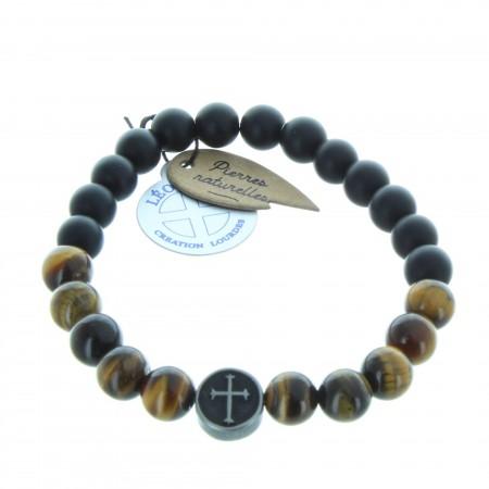 Bracelet religieux en pierre d'agate noire et oeil de tigre