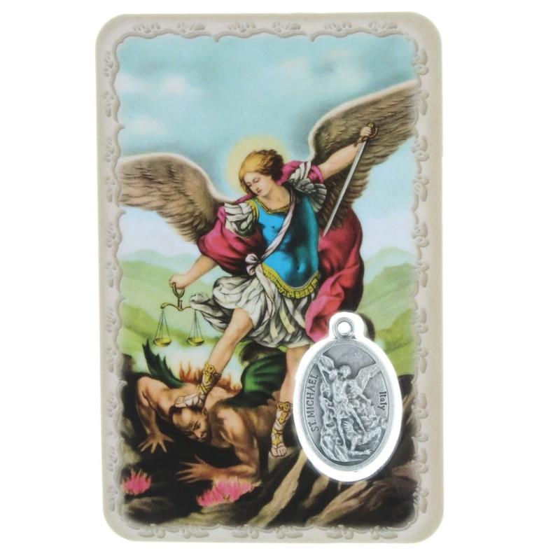 Saint Michael prayer card with a medal