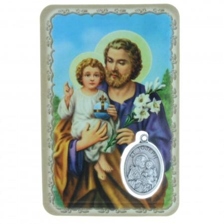 Saint Joseph prayer card with a medal
