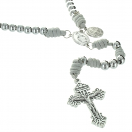 Cord Saint Benedict Battle rosary with a  forgiveness cross