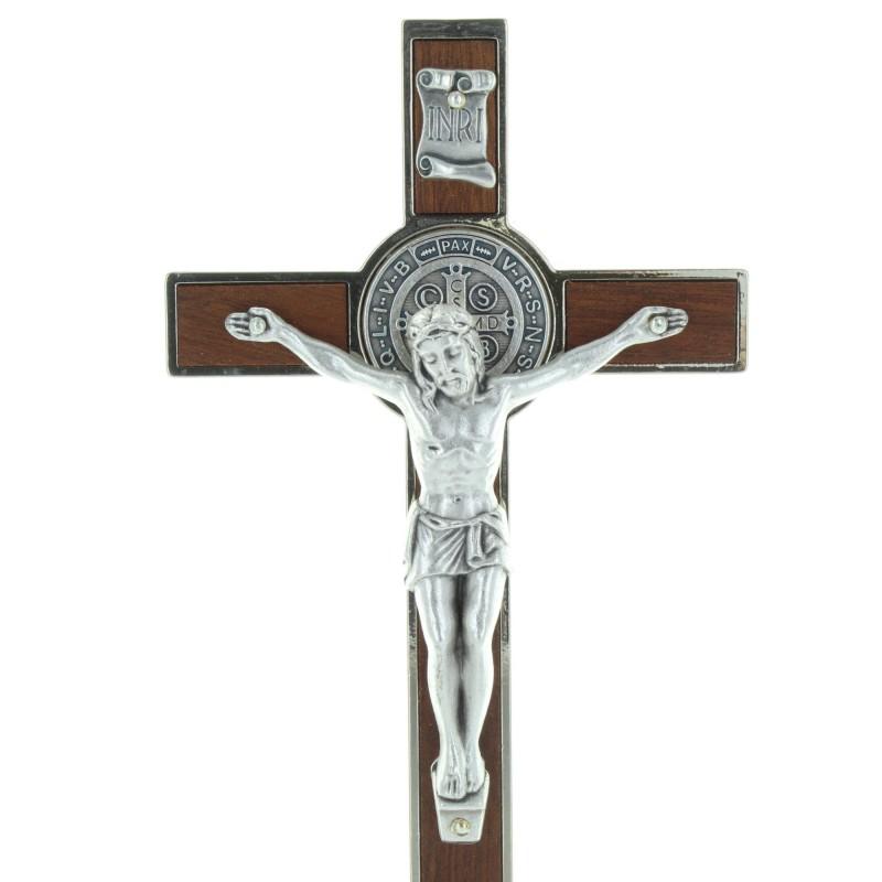 Saint Benedict Wooden Crucifix on stand 20cm