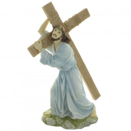 Statue de Jésus portant sa croix en résine 30cm