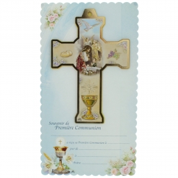 Boy Communion cross with a souvenir certificate