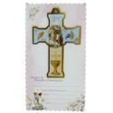 Girl Communion cross with a souvenir certificate