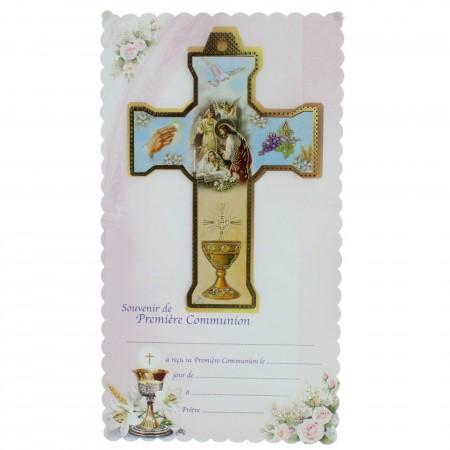 Croce di comunione per ragazza con un certificato ricordo