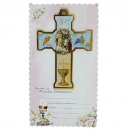 Girl Communion cross with a souvenir certificate