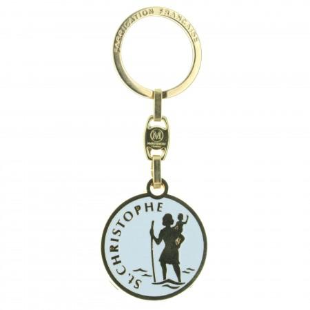 St Christopher golden key ring