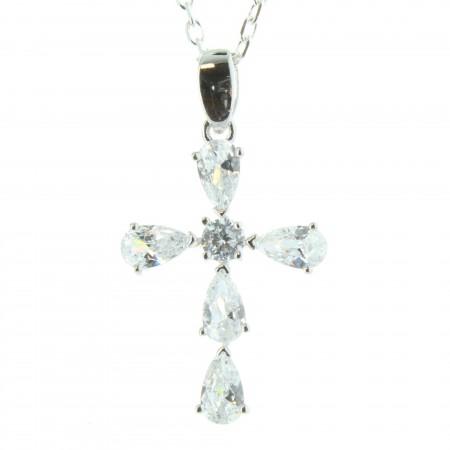 Ciondolo Croce in argento con zirconi e catena 50cm